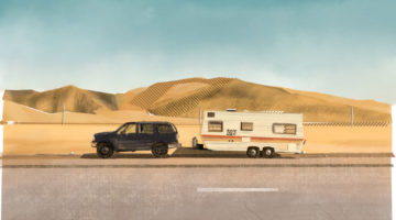 illustration of car and motorhome parked in the dessert